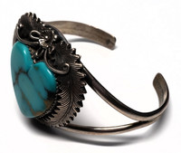 Peterson Johnson Sterling Silver High Luster Cabochon Sleeping Beauty Turquoise Heart Bracelet Ring Set - Vintage and One of a Kind