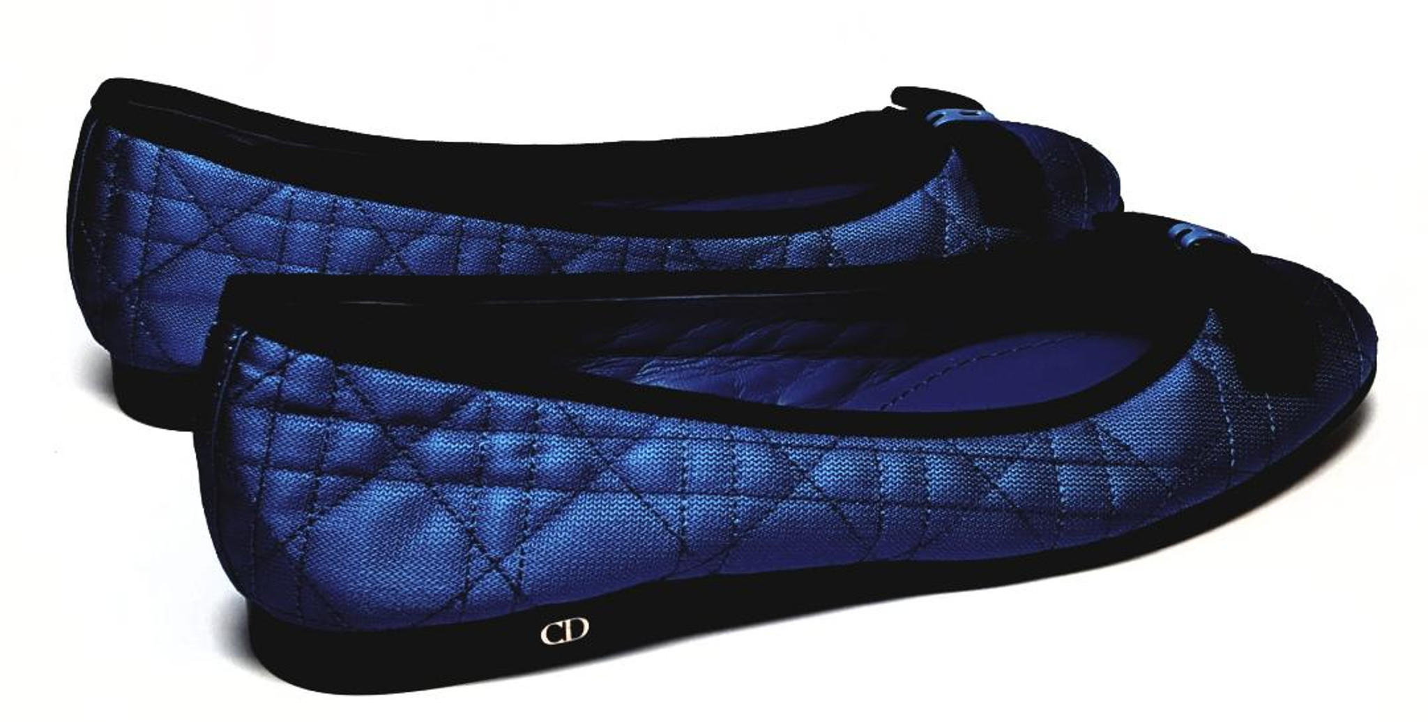 012c6757 Christian Dior Quilted Satin Royal Blue with a Black Bow Ballet Flats -  Size US 8 - New
