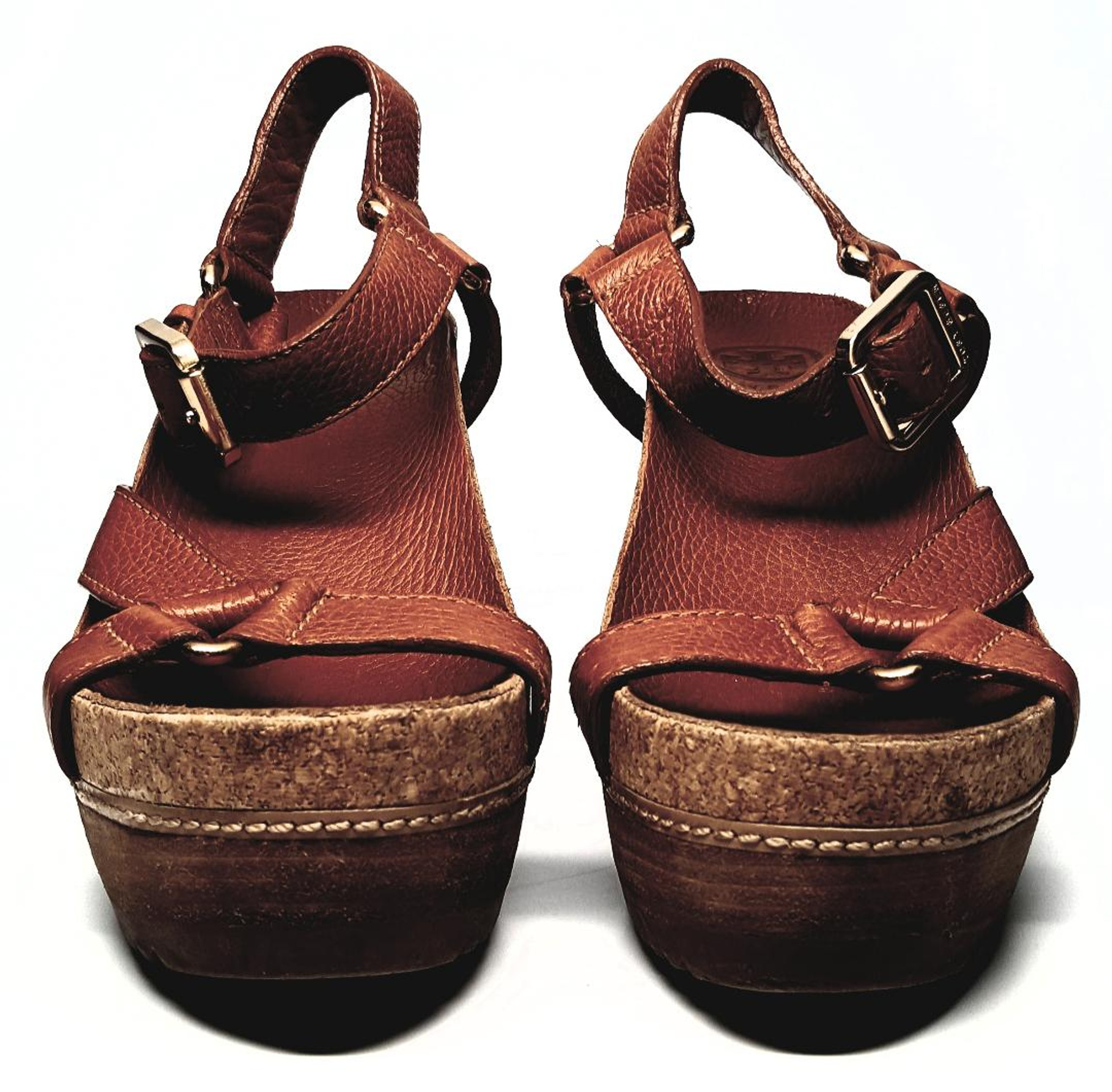 1c397ab9fb2 ... Size 7M. Caramel-Colored Soft Pebbled Leather High Wedge Mary Jane  Sandals by Tory Burch - US ...