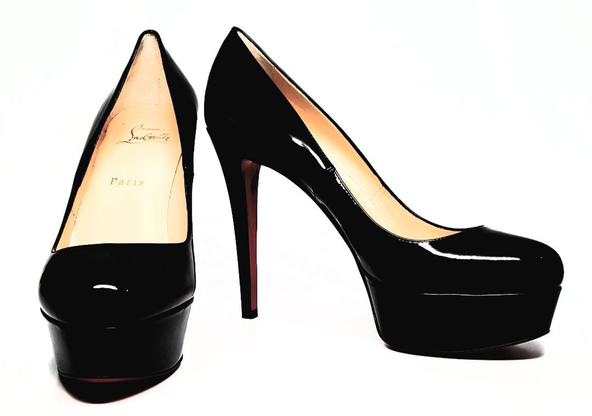 reputable site c5be0 de838 Christian Louboutin Black Patent Leather Bianca Heel - Size US 8 - New