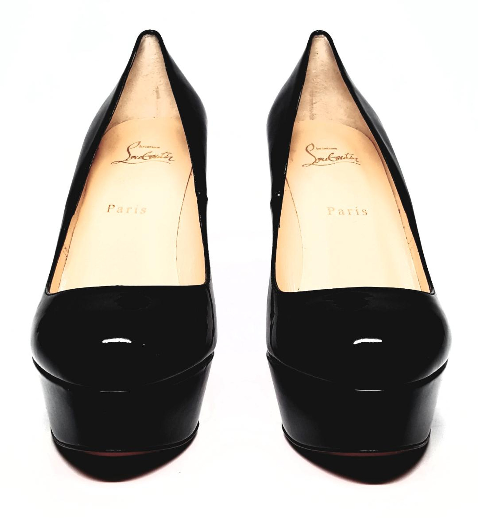 reputable site 01164 51542 Christian Louboutin Black Patent Leather Bianca Heel - Size US 8 - New