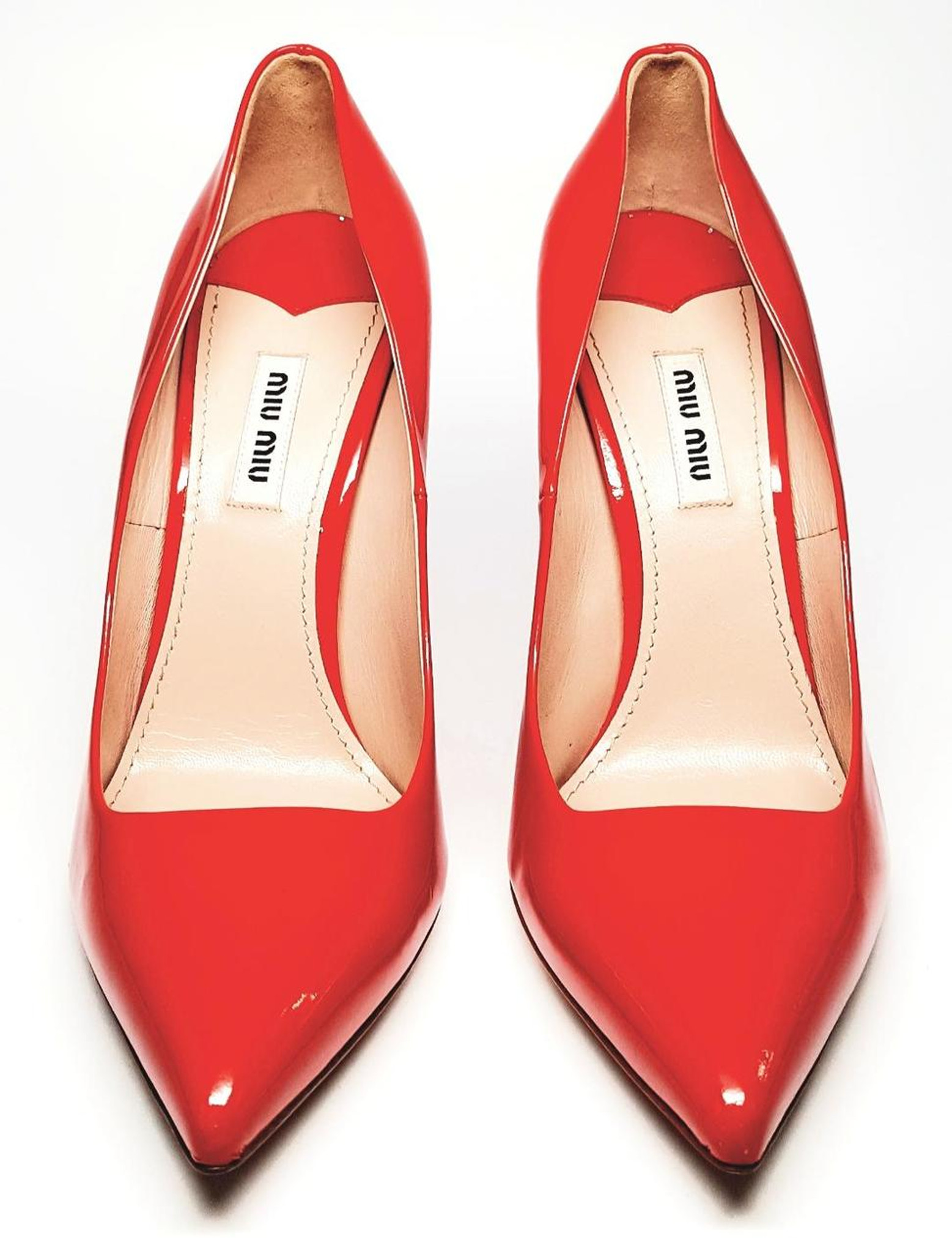 13f54ed03cb Cherry Red Patent Leather Pointed Toe Glitter Bottom Stiletto High Heels by Miu  Miu - New ...