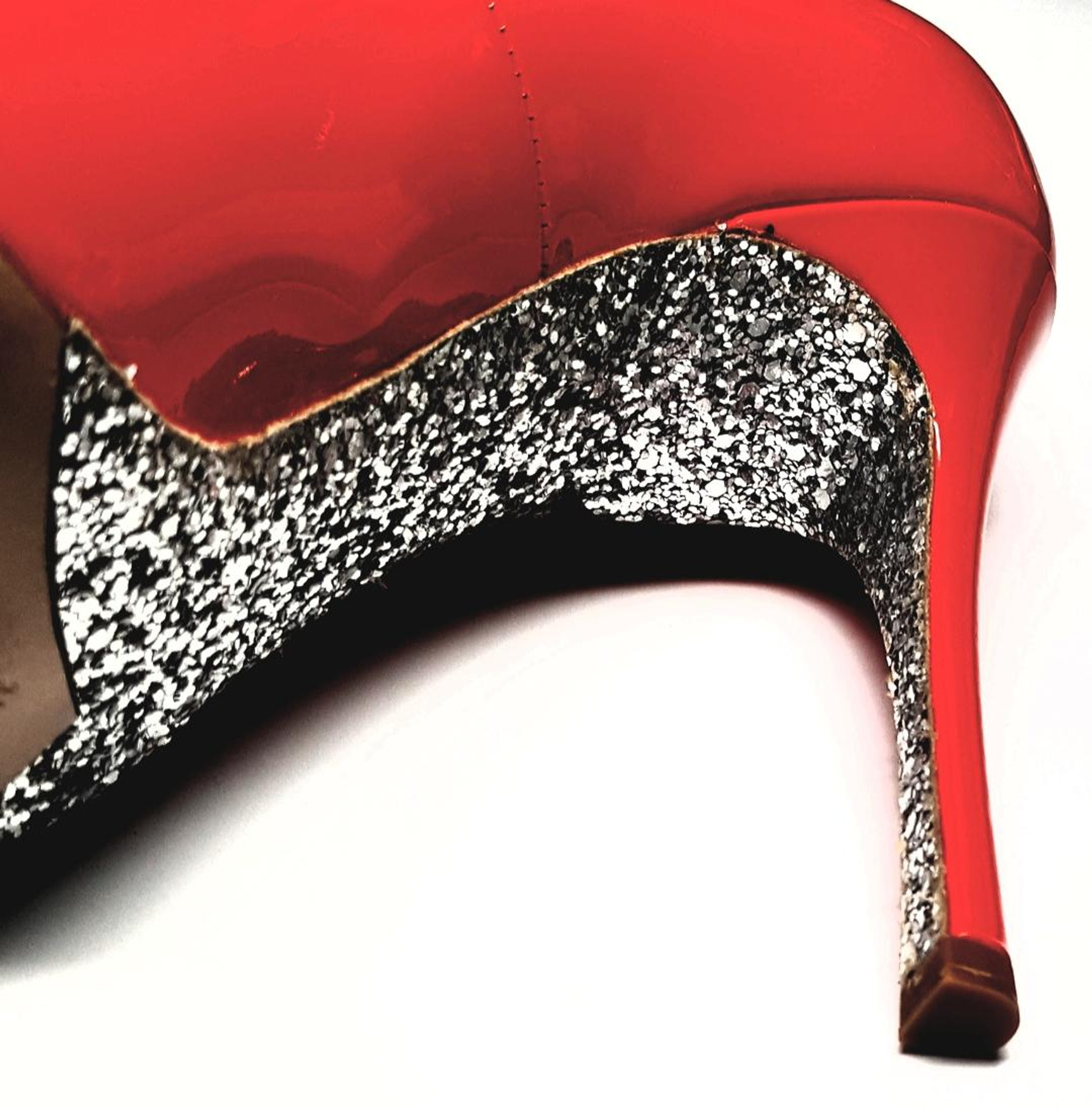 f20f8e89519 ... Cherry Red Patent Leather Pointed Toe Glitter Bottom Stiletto High Heels  by Miu Miu - New
