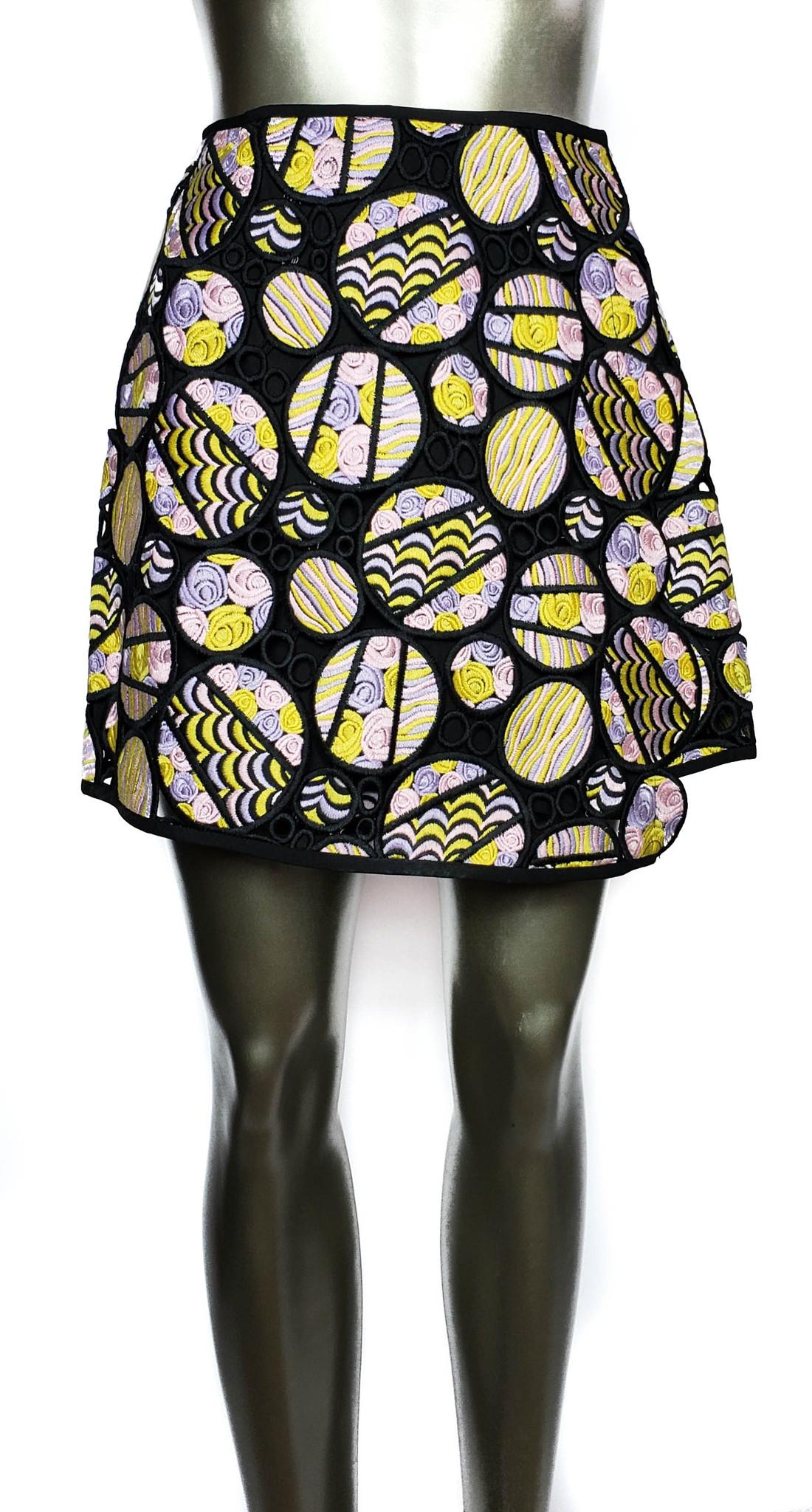 5c4e7a457 Cynthia Rowley Pastels Crochet Circles Slit Wrap Skirt Mini - Size 0 - New  ...