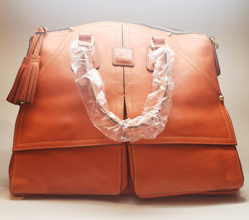 Dooney & Burke Large Pumpkin-Colored Soft Leather Cargo Pockets Doctor Handbag/Crossbody - Last One!