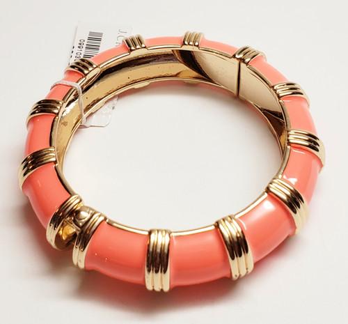 J. Crew Tangerine & Gold Enamel Bangle Bracelet