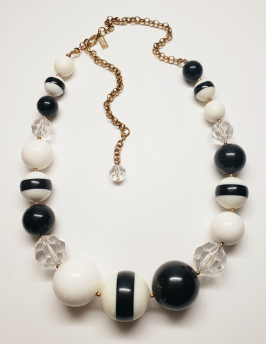 Kate Spade Black & White Graduated Spheres Statement Necklace