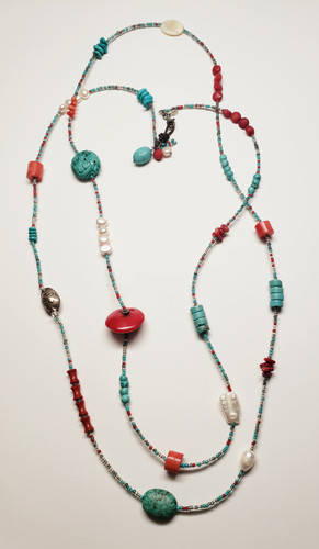 Peyote Bird Turquoise Coral MOP and Sterling Super Long Statement Necklace