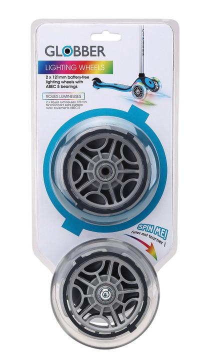 Globber Light Up LED Front Wheels - Multicolour Lighting 121mm 2 Pack