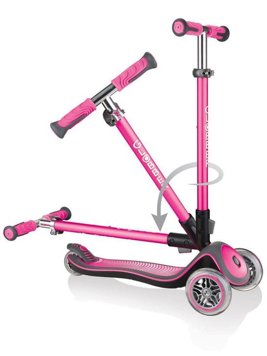 Globber Elite Deluxe - 3 Wheel Fold Up Height Adjustable Scooter - Pink