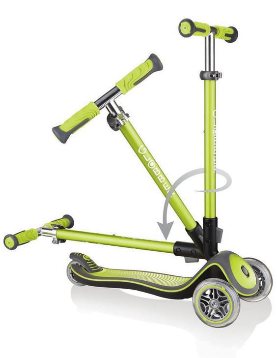 Globber Elite Deluxe - 3 Wheel Fold Up Height Adjustable Scooter - Lime Green
