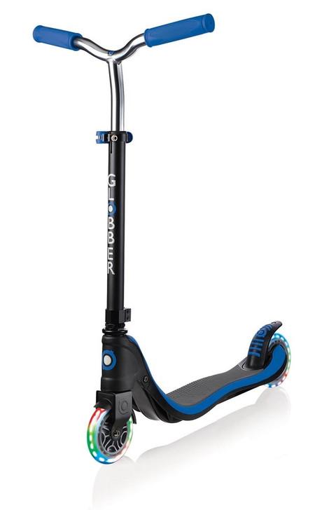 Globber Flow 125 Lights 2 Wheel Scooter - LED Flashing Wheels - Navy Blue