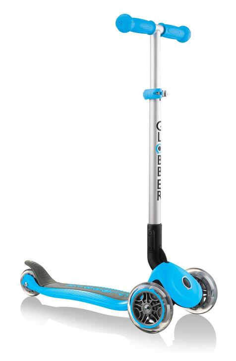 Globber Primo Foldable 3 Wheel Fold Up Scooter - Sky Blue