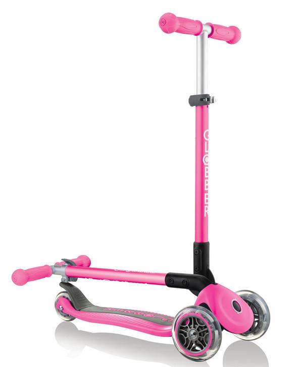 Globber Primo Foldable 3 Wheel Fold Up Scooter - Pink V2
