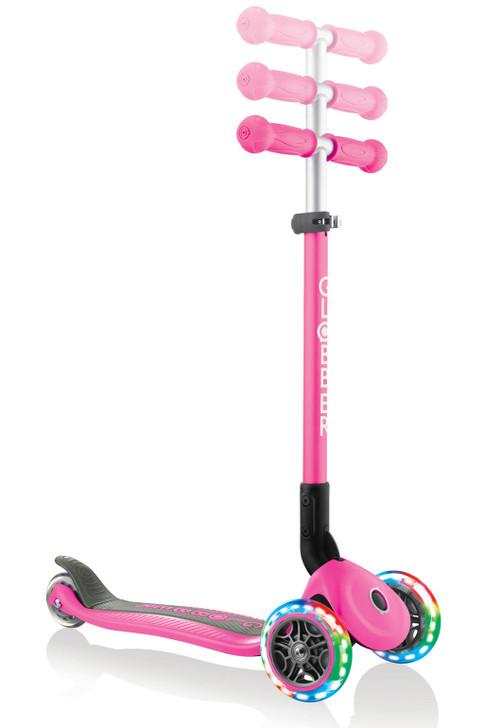 Globber Primo Foldable Lights 3 Wheel Scooter LED Wheels Pink T-Bar v2 - Pink