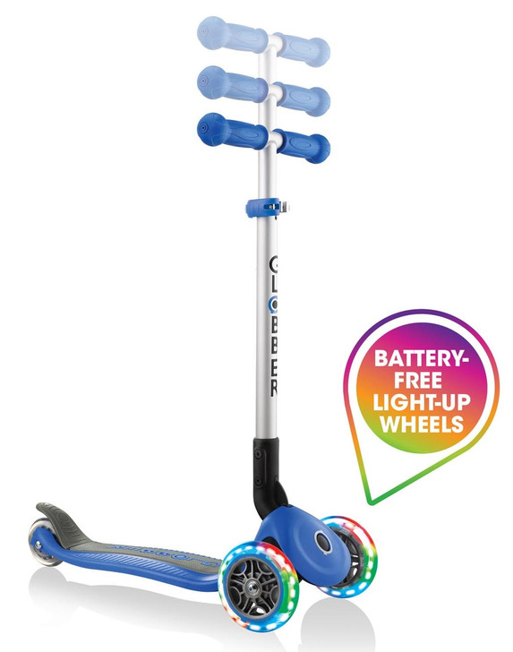 Globber Primo Foldable Lights 3 Wheel Scooter LED Wheels - Blue