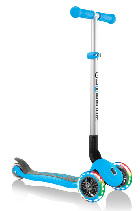 Globber Primo Foldable Lights 3 Wheel Scooter LED Wheels - Sky Blue