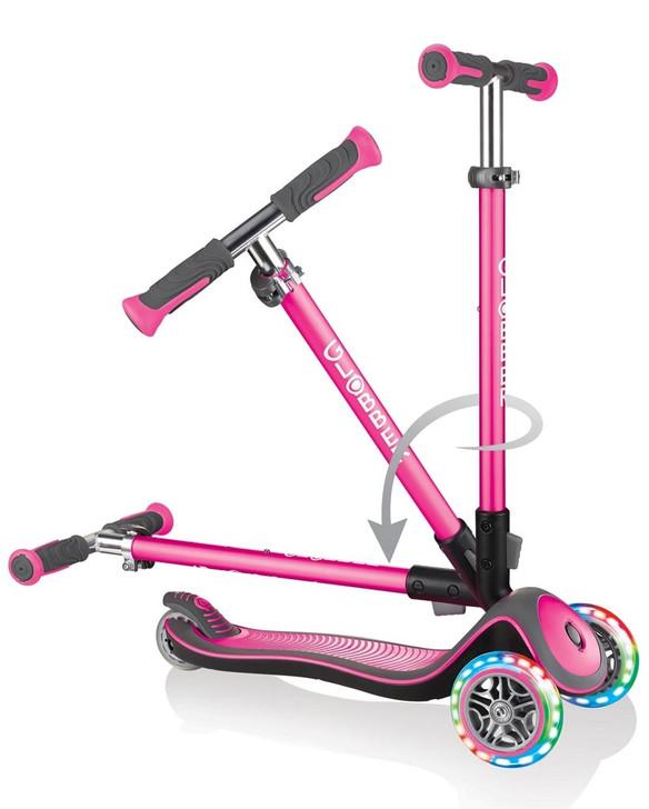 Globber Elite Deluxe Lights - 3 Wheel LED Fold Up  Scooter - Pink
