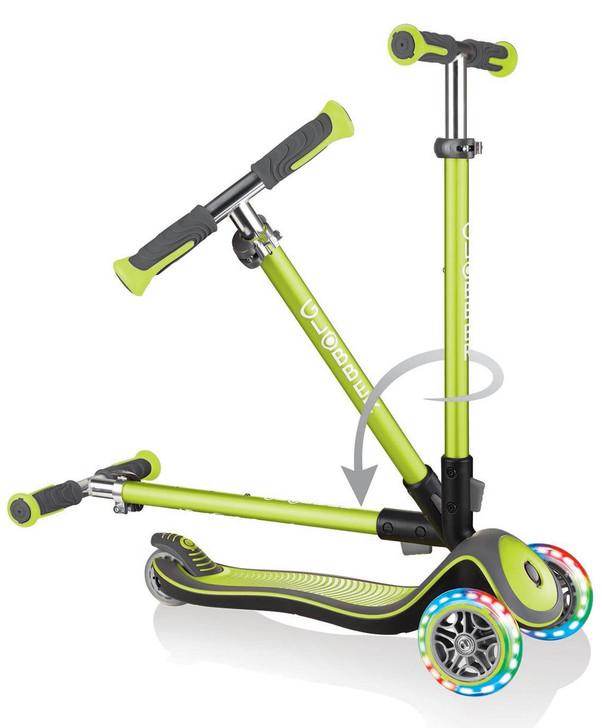 Globber Elite Deluxe Lights - 3 Wheel LED Fold Up Scooter - Lime Green
