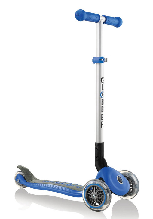 Globber Primo Foldable 3 Wheel Fold Up Scooter - Navy Blue