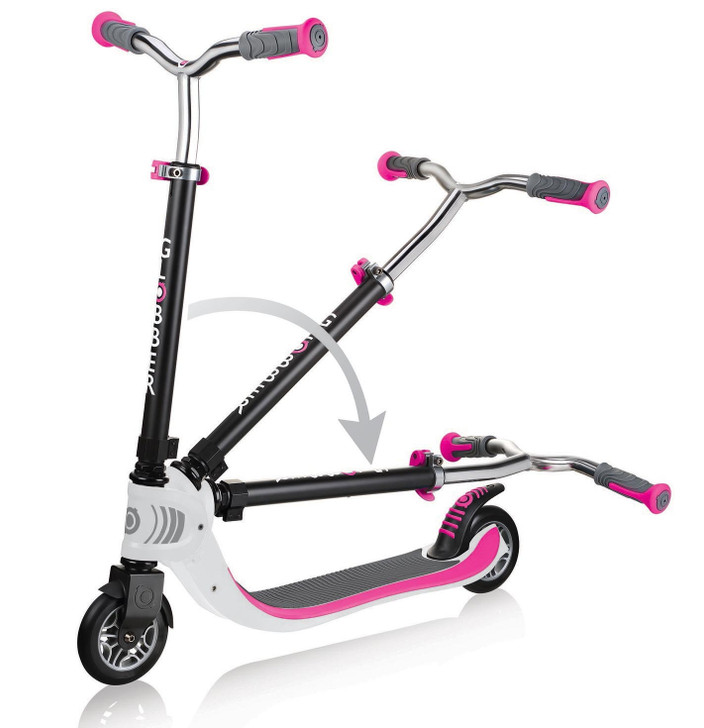Globber Flow 125 Foldable 2 Wheel Scooter - Pink/White