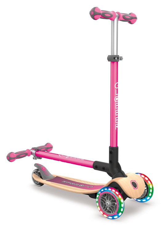 Globber Primo Foldable Lights WOODEN 3 Wheel Scooter LED Wheels - Pink
