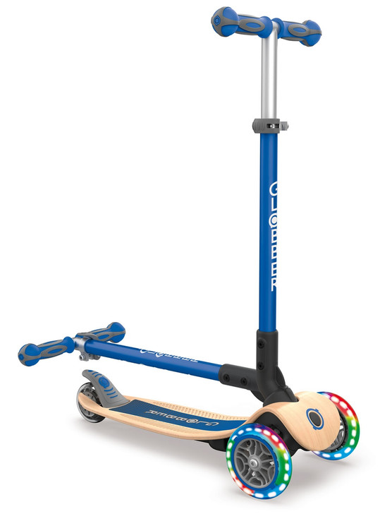 Globber Primo Foldable Lights WOODEN 3 Wheel Scooter LED Wheels - Blue