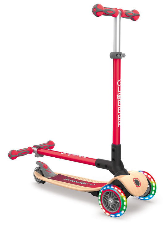 Globber Primo Foldable Lights WOODEN 3 Wheel Scooter LED Wheels - Red