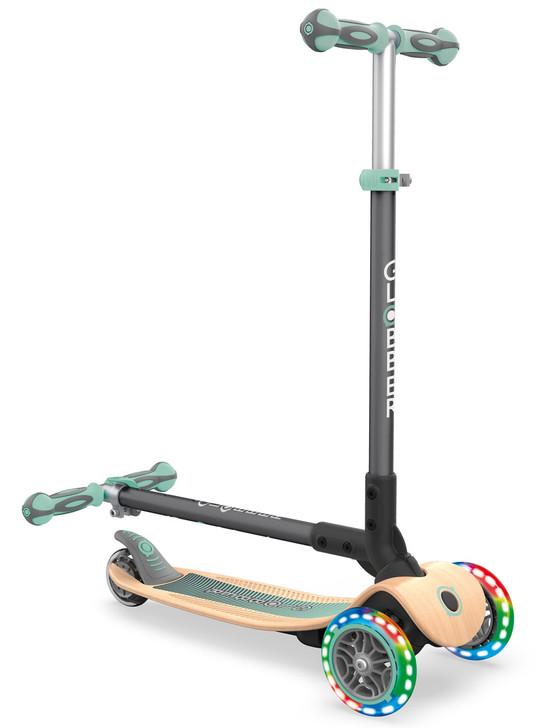 Globber Primo Foldable Lights WOODEN 3 Wheel Scooter LED Wheels - Mint