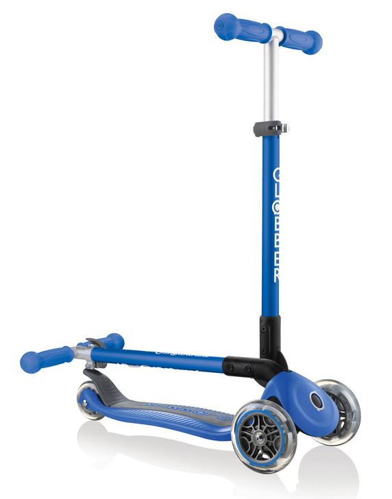 Globber Primo Foldable 3 Wheel Fold Up Scooter - Navy Blue - V2
