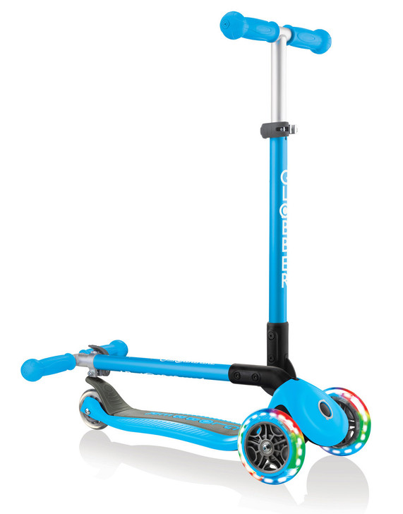 Globber Primo Foldable Lights 3 Wheel Scooter LED Wheels - Sky Blue V2