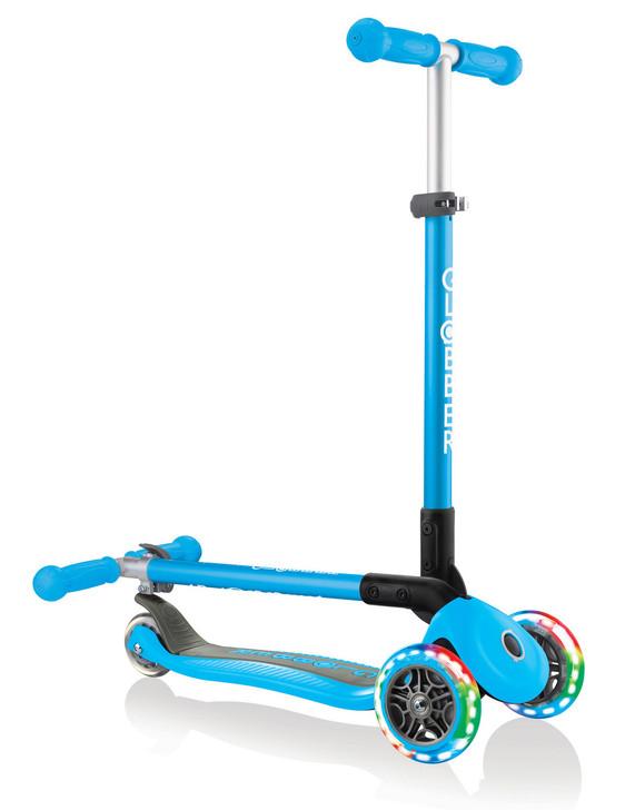 Globber Primo Foldable Lights 3 Wheel Scooter LED Wheels - Sky Blue V2