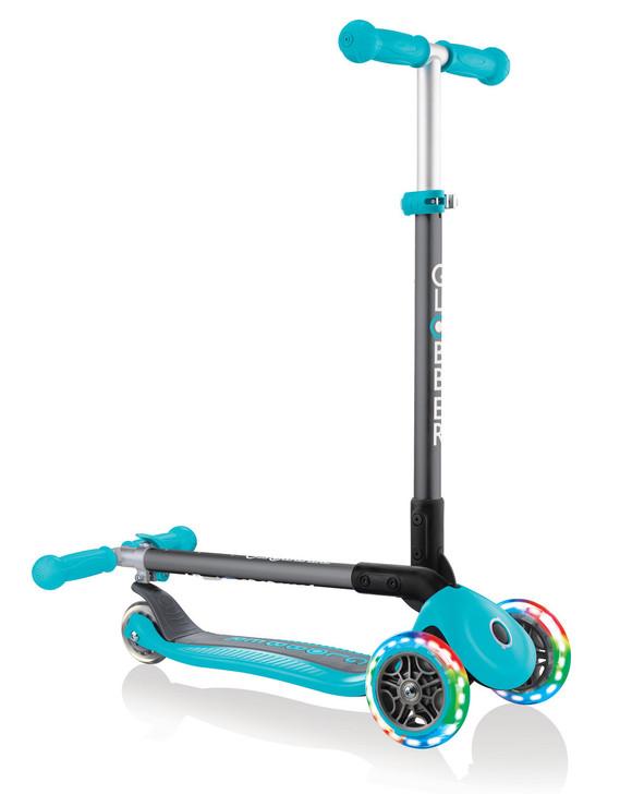Globber Primo Foldable Lights 3 Wheel Scooter LED Wheels - Teal V2