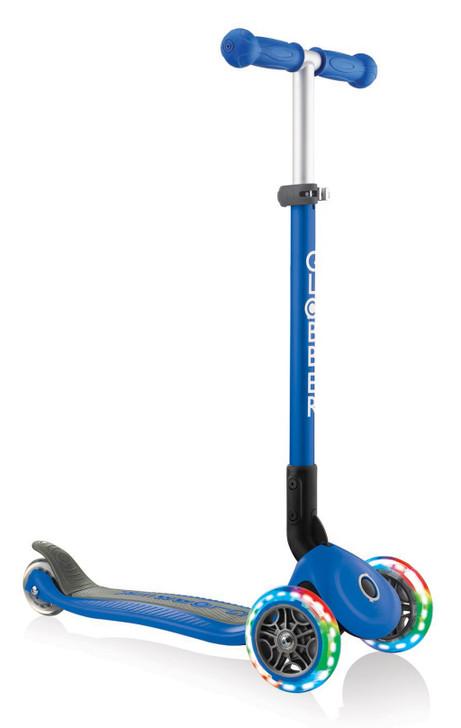 Globber Primo Foldable Lights 3 Wheel Scooter LED Wheels - Navy Blue V2