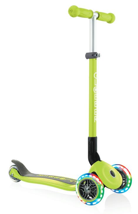 Globber Primo Foldable Lights 3 Wheel Scooter LED Wheels - Lime Green V2