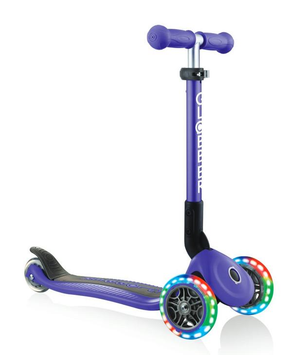 Globber Junior Foldable Lights 3 Wheel Scooter LED Wheels - Violet