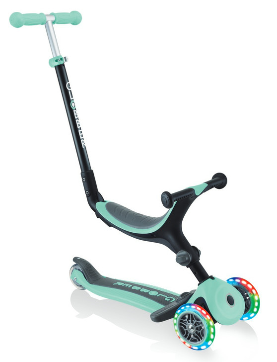 Globber Go Up Foldable Plus Lights Convertible Scooter - Mint