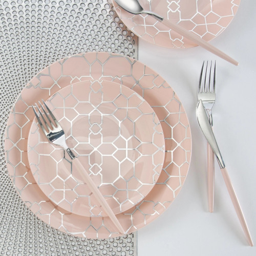 Blush - Round Accent Pattern - Plastic Plates | 10 Pack