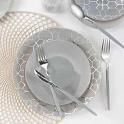 Round Gray  - Silver Pattern Plastic Plates | 10 Pack