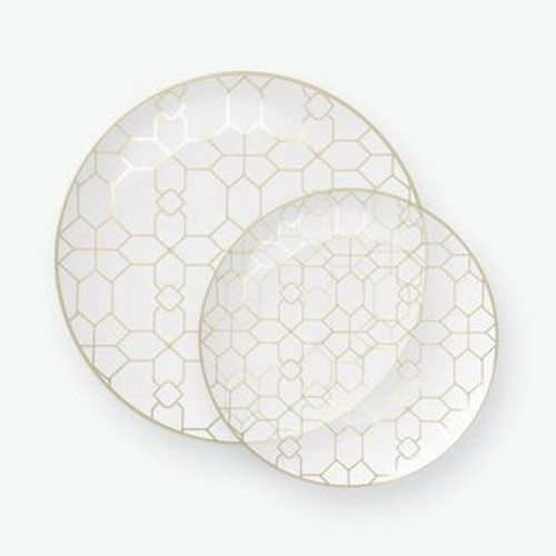 Clear - Round Accent Pattern Plastic Plates | 10 Pack