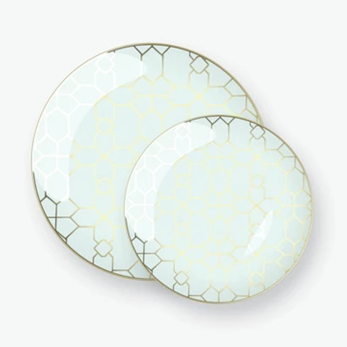 Round Mint  -  Gold Pattern Plastic Plates | 10 Pack