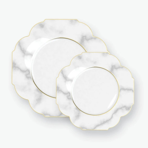 Scalloped Marble • Gold Plastic Plates | 10 Pack
