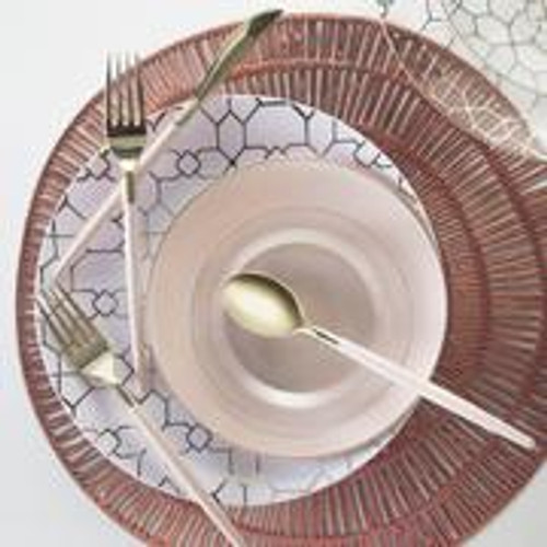 Round White • Gold Pattern Plastic Plates | 10 Pack