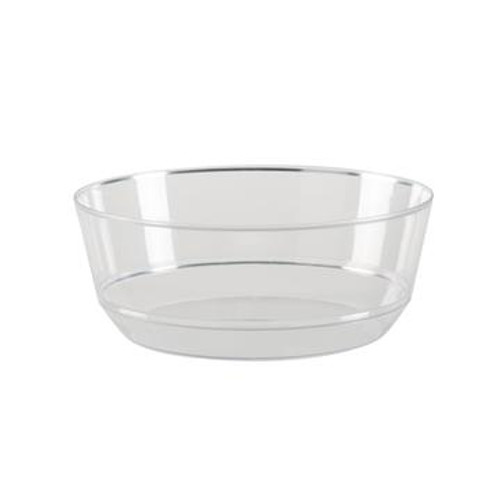 14 Oz. Round Clear • Silver Plastic Bowls | 10 Pack