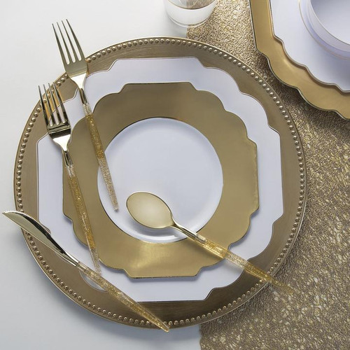 """13"""" Gold Beaded Round Plastic Charger Plate 