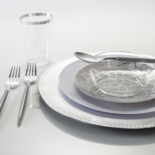 """13"""" Silver Beaded Round Plastic Charger Plate 