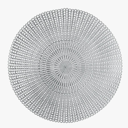 """16"""" Woven Silver Round Vinyl Placemat 