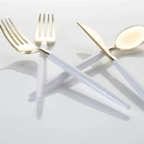 White • Gold Plastic Cutlery Set | 32 Pieces