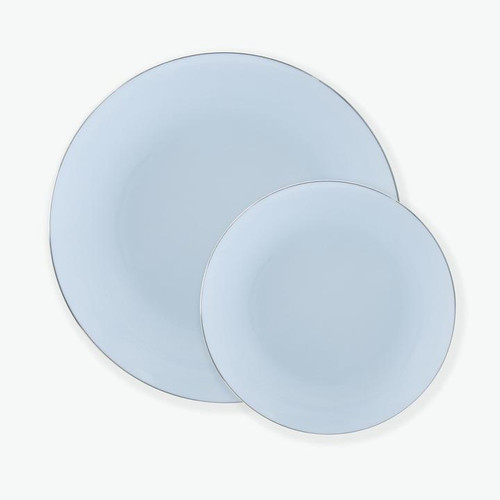 Round Ice Blue • Silver Plastic Plates | 10 Pack