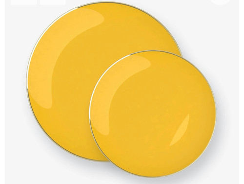 Yellow • Gold Round Plastic Plates | 10 Pack